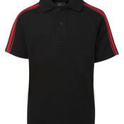 Podium Dual Stripe Polo Black/Red 4