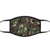 Army Green Camo 3 Layer Face Mask adjustable black earloops