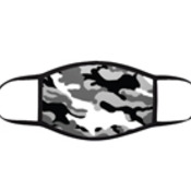 Camo Grey 3 Layer Face Mask with adjustable black earloops