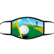 Golf Coloured 3 Layer Face Mask with adjustable black earloops
